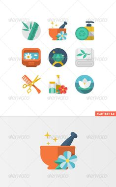 Beauty and Spa Flat  #GraphicRiver         Flat icon set for Web and Mobile Application. Vector.  	 Set include: Spa, Beauty, hairdressing, Medcine icons.  	 File types: Adobe Illustrator 10 EPS, Adobe Photoshop CS PSD.                     Created: 10 December 13                    Graphics Files Included:   Photoshop PSD #Transparent PNG #Vector EPS                   High Resolution:   Yes                   Layered:   Yes