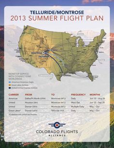 Summer air map is out! Time to plan your vacation! #MadeinTelluride #TellurideSummer #ColoradoFlightsAlliance