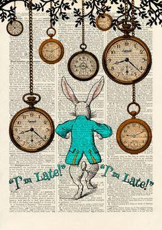Set of 4 Alice in Wonderland Antique Book page Art Prints A4-Nursery Set 2 Turq