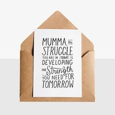 Mumma Strength  Greeting Card  Kraft Envelope - Early Buds has designed these unique hand lettered new arrival / preemie greeting cards, perfect way to congratulate any new parent!