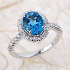 Blue Topaz Engagement Ring   Natural London Blue Topaz Engagement Ring    9x7mm Oval Topaz Wedding Ring Halo Diamond Ring   14k White Gold