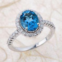 Oval  Halo Swiss Blue Topaz Engagement Ring Wedding Set in 14k White Gold Half Diamond Eternity Band and 9x7mm Blue Gemstone Ring