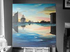 Hamburger Hafen am Morgen. Bin bereit das Bild gegen eine neue Leinwand zu tauschen. Also, wer will? :P