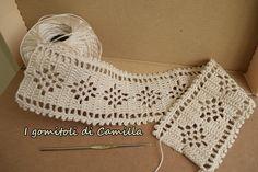 Bordo A Uncinetto Con Trafori - Diy Crafts Crochet Box, Crochet Lace Edging, Crochet Borders, Crochet Diagram, Cotton Crochet, Crochet Trim, Vintage Crochet, Easy Crochet, Crochet Stitches