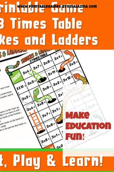 Multiplication Games Printable for Kids. Snakes And Ladders Printable, Maths Times Tables, Math Flash Cards, Spelling Games, Multiplication Games, Learn To Spell, Free Math, New Words, Games For Kids