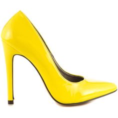 Michael Antonio Women's Lamiss - Yellow Pat PU ($50) ❤ liked on Polyvore featuring shoes, pumps, heels, yellow, yellow pointed toe pumps, yellow heels pumps, michael antonio pumps, high heels stilettos and yellow stiletto pumps