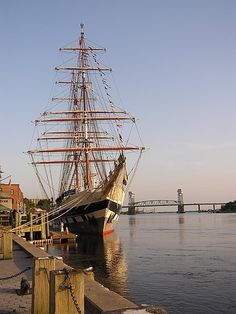 Wilmington, NC - Downtown Waterfront on the Cape Fear River. This sight would not have been overly foreign to the newly-arrived Scots. Once you go upriver, however--watch out. Jungly, snakey, humid, mosquito-ridden: home sweet home.