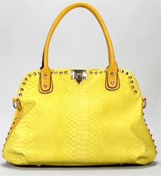I MUST GET THIS FOR SPRING! ONLY $34.90 Yellow Snake Stud Bag