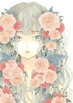 anime girl with flowers