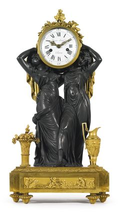"""date unspecified """"Caryatides"""", a Louis XVI style gilt and patinated bronze horloge à poser Paris, late century, in the manner of Louis-Simon Boizot Estimate — USD LOT SOLD. USD (Hammer Price with Buyer's Premium) Tabletop Clocks, Mantel Clocks, Old Clocks, Antique Clocks, Vintage Clocks, Louis Xvi, French Clock, Retro Clock, Modern Clock"""