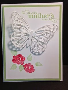 Butterfly Thinlits, Painted Petals, Mother's Day Card, Birthday Cards, Get Well… Butterfly Cards, Flower Cards, Butterfly Cutout, White Butterfly, Making Greeting Cards, Greeting Cards Handmade, Scrapbooking, Scrapbook Cards, Pinterest Cards