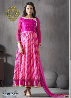 Marvelous Magenta Pink Coloured Semi stitched Anarkali Salwar Suit
