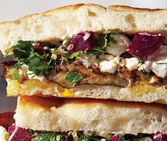 Roasted Eggplant and Pickled Beet Sandwiches - Bon Appétit. Made with quick pickled beets and goat cheese. Vegetable Recipes, Vegetarian Recipes, Cooking Recipes, Healthy Recipes, Vegetarian Sandwiches, Cooking Tips, Healthy Snacks, Picnic Sandwiches, Going Vegetarian