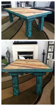 Teal Coffee Table Made From Reclaimed Pallets - Coffee table made from reclaimed pallets, painted with chalk paint and 3 coats of varathane.