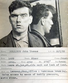 John Thomas Hollings This mug shot comes from a police identification book believed to be from the 1930s. It was originally found in a junk shop by a member of the public and subsequently donated to Tyne & Wear Archives & Museums. No information is available to confirm which police force compiled it but evidence suggests it's from the Newcastle upon Tyne area.