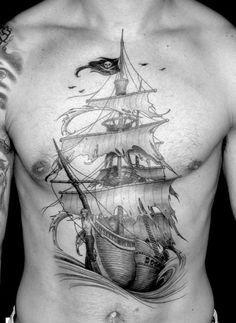 40 Pirate Flag Tattoo Designs For Men - Jolly Roger Ink Ideas Tattoo Marin, Body Art Tattoos, Sleeve Tattoos, Gun Tattoos, Bear Tattoos, New Traditional Tattoo, Pirate Ship Tattoo Traditional, Pirate Ship Tattoos, Pirate Ship Tattoo Thigh