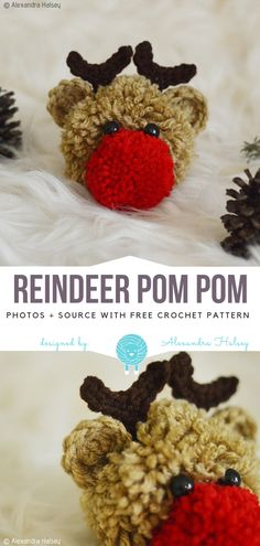 Crochet Diy Reindeer Pom Pom Free Crochet Pattern - Hello, is this Rudolf from the Christmas song we all know? Reindeer Pom Pom is really funny and will be a great addition to a simple hat, scarf, or made into a Christmas Pom Pom Crafts, Craft Stick Crafts, Holiday Crafts, Christmas Crafts, Diy And Crafts, Christmas Decorations, Pom Pom Decorations, Crochet Christmas, Christmas Angels