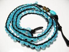 aqua blue triple wrap bracelet with turquoise bead
