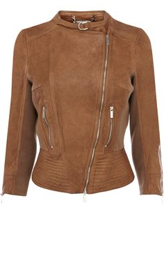 Leather biker jacket with jersey panels and multi stitched waist detail trimmed with Karen Millen branded metalwork.