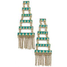 House of Harlow 1960 'Peak to Peak' Fringe Earrings ($58) ❤ liked on Polyvore featuring jewelry, earrings, fringe earrings, chains jewelry, antique jewellery, earrings jewelry and gold tone jewelry