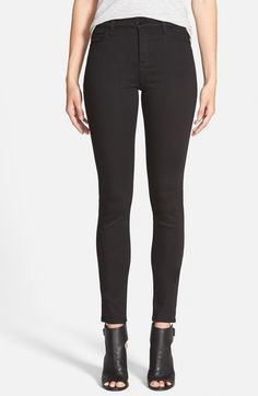 J Brand 'Maria' High Rise Skinny Jeans (Seriously Black) available at #Nordstrom