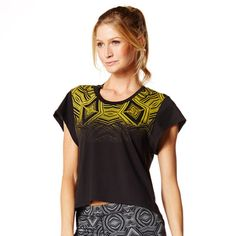 Zumba Fitness Relaxed Open Back Crop Top - Sew Black