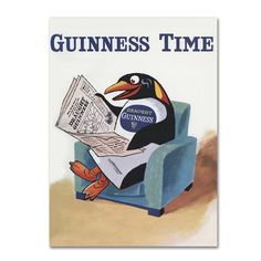 This ready to hang, gallery-wrapped art piece features a penguin seated in a chair reading a newspaper with the caption 'Guinness Time'. Guinness is an Irish dry stout that originated in the brewery o