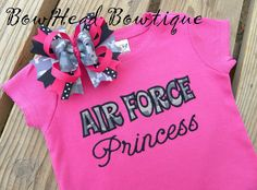 Air Force Princess - Digital Camo- Applique Boutique Shirt or Onesie and Hair bow set for Girls on Etsy, $28.00