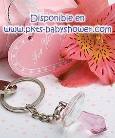 Recuerdos para Baby Shower - Llavero Chupón Rosa de Cristal - Disponible en www.pkts-babyshower.com
