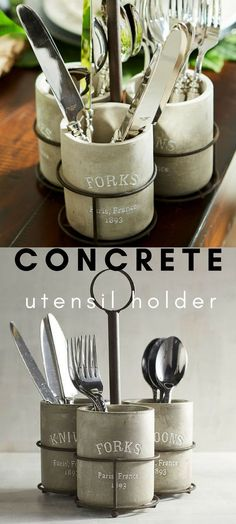 Rustic concrete utensil holder caddy. Super cool and perfect for parties. Love the simple design. #partyware #utensilholder #rustic #ad