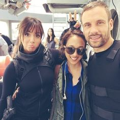 Behind the scenes pic from this ep with and (Chloe Bennet, Mo Tancharoen, Nick Blood) Agents of S. Iain De Caestecker, Shield Cast, Chloe Bennett, Melinda May, Covert Affairs, Family Shield, Marvels Agents Of Shield, Phil Coulson, Agent Carter