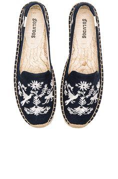 Soludos Otomi Embroidered Platform Smoking Slipper in Navy & White