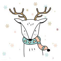 Christmas Deer, Christmas Animals, Christmas Holidays, Christmas Crafts, Xmas, Christmas Illustration, Cute Illustration, Doodles, Christmas Drawing
