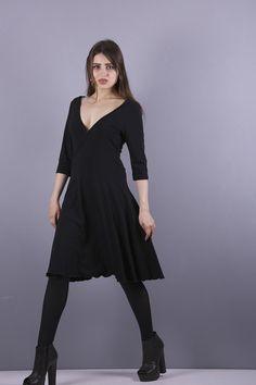 Wickelkleider - NARA  Wickel Optik Kleid schwarz - ein Designerstück von Berlinerfashion bei DaWanda