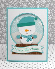 Frosty Friends: Snow Globe Inspiration - awesome aqua snow globe card by Amanda Coleman from Doodlebug Design using the new Frosty Friends collection.  You can see all 3 of her cards here http://www.pinterest.com/pin/247275835766260740/