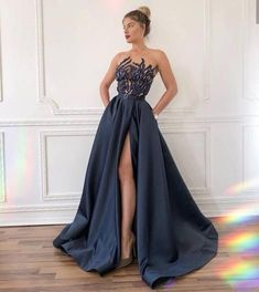 New A-line Satin Side Slit Long Fashion Prom Dresses Black Evening Dresses, Black Prom Dresses, Elegant Dresses, Evening Gowns, Strapless Dress Formal, Beautiful Dresses, Bridesmaid Dresses, Formal Dresses, Wedding Dresses