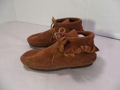 VINTAGE Children's Toddler MINNETONKA USA Fringe Boots Moccasins Brown Suede-10 #Minnetonka #Moccasins