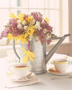 Here is another watering can arrangement for Easter