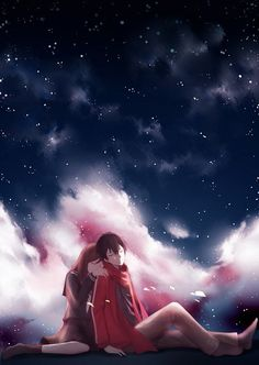Anime couple- ayano x shintaro . . underneath the stars