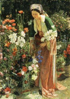John Frederick Lewis (British Painter, 1804-1876) In the Bey-s Garden 1865