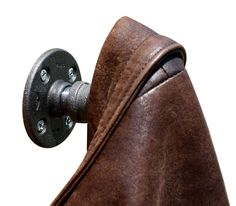 Industrial Pipe Coat Hook at a 45 degree angle. #Industrialpipefurniture