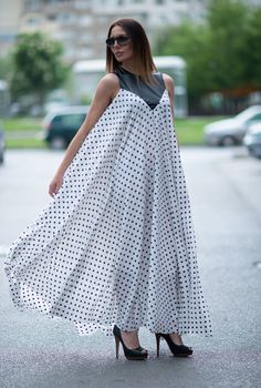 Chiffon Women Long Polka Dot Dress, Extravagant Maxi Loose Dress, Women Dresses, Plus Size Kaftan, Maternity Stunning Dresses - at Diyanu Latest African Fashion Dresses, African Dresses For Women, African Print Fashion, African Attire, Stunning Dresses, Kaftan, Ideias Fashion, Vegan Leather, Zipper