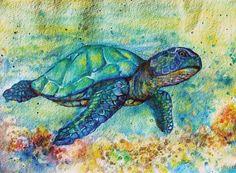 Watercolor turtle.