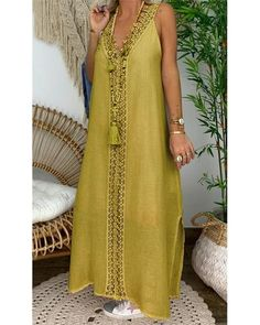 Women Solid V Neck Sling Sleeveless Lace Maxi Dress - modvivi Casual Dresses, Fashion Dresses, Dresses Dresses, Cruise Collection, Mein Style, Summer Outfits, Summer Dresses, Lace Maxi, Vacation Dresses