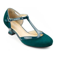 Rumba Shoes - Cushioned ladies party heels - Deep Teal size 10 $99.00 AT vintagedancer.com