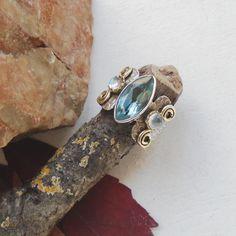 Mondstein & Blautopas, Ring, Ø 18,25 mm, 925 Sterling Silber in Uhren & Schmuck, Echtschmuck, Ringe | eBay!
