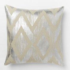 Metallic Chevron Pillow Cover – Silver