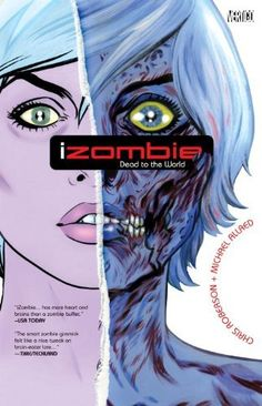 iZombie Vol. 1: Dead to the World by Chris Roberson. Gwen is a zombie, but it's not too bad--as long as she eats one brain a month, she passes for human & avoids becoming a mindless monster, & her gravedigging job keeps her supplied. But when she eats a brain, she absorbs its memories, and her latest meal shows her an unsolved murder. Gwen & her friends, ghost-girl Ellie & were-terrier Scott, set out to solve this murder in this Halloweenishly fun B-movie-style paranormal mystery.