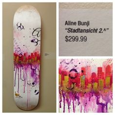 Aline Jeanbourquin Original Hand Painted Skateboard Deck  *one of a kind hand painted approx 8 x 31 skateboard deck  This deck is a one of a kind and was created by the artist for The Dark Slide 3rd Annual Skateboard Deck Art Show at Dubuque Area Arts Collective 902 Main St. Dubuque, IA http://da