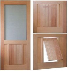 Plastic pet doors on the market just have style. At Vintage Doors we make solid wood doors that make your home beautiful and keep your pet happy. Pick any screen door model and selec The Doors, Wood Doors, Wooden Screen Door, Screen Doors, Dog Screen Door, Pet Door, Door With Dog Door, Doggy Doors, Vintage Doors
